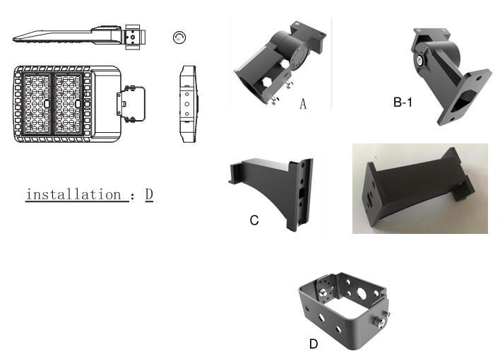 200W LED Shoebox Light Mounting bracket optional,Slip Fitter,Arm Mount,Trunnion.