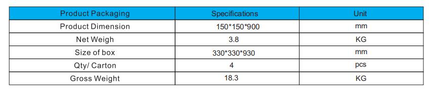 LED Bollard Lights Package dimensions
