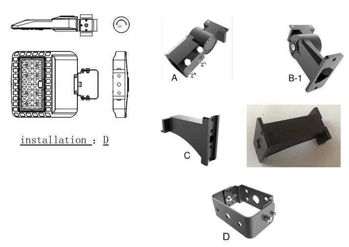 100W LED Shoebox Lights Mounting bracket optional