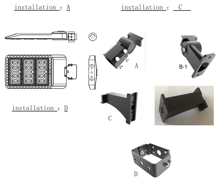 240W LED Shoebox Light Mounting bracket optional Slip Fitter, Arm Mount, Trunnion.
