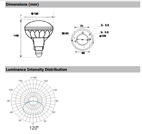 20W LED Poultry Lighting Dimensions 120°