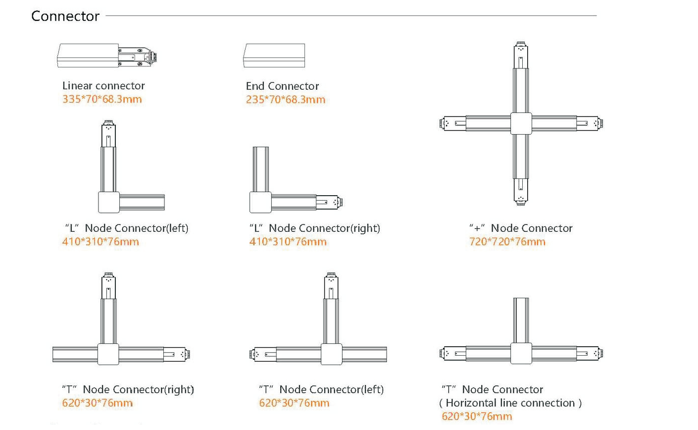 72W LED Linear Light Connector