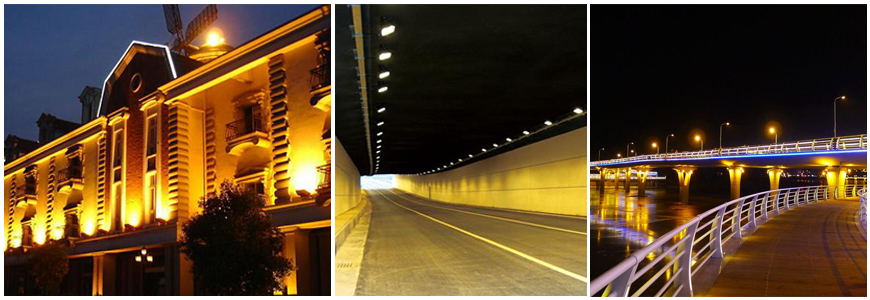 Widely used in Tunnel Lighting, Municipal Project Lighting, City Landscape Lighting, Building Lighting, Outdoor Advertisement Board Lighting,etc.