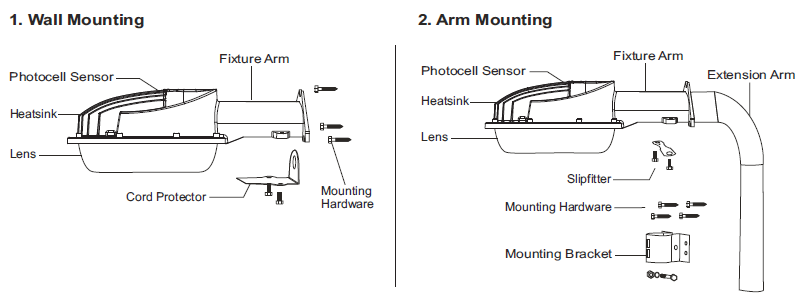 Mounting Arm and Bracket for Pole or Wall Mounting